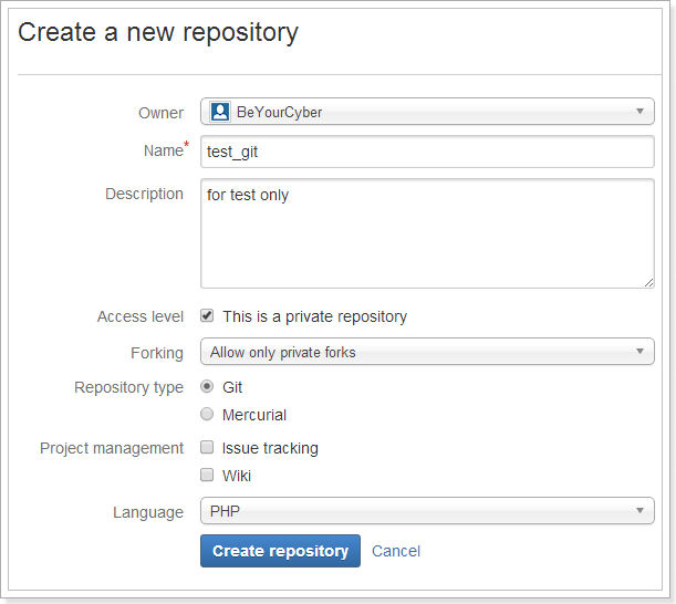 fill form create git repository bitbucket