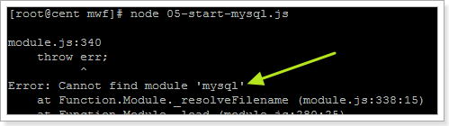 can not find module mysql error
