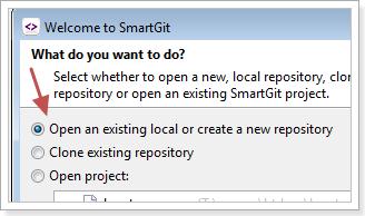 เลือกว่า open an existing local or create a new repository